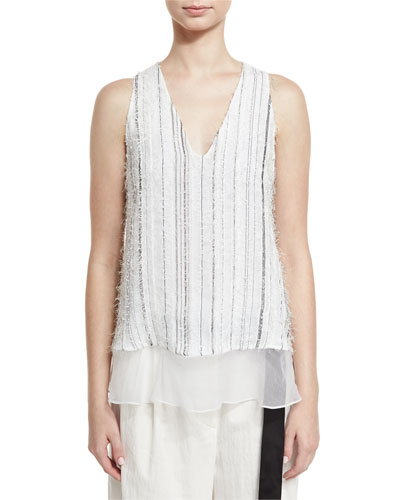 Monili-Stripe Textured V-Neck Tank, White