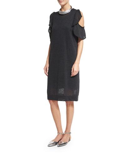 Paillette Ruffled Cold-Shoulder Dress, Dark Gray