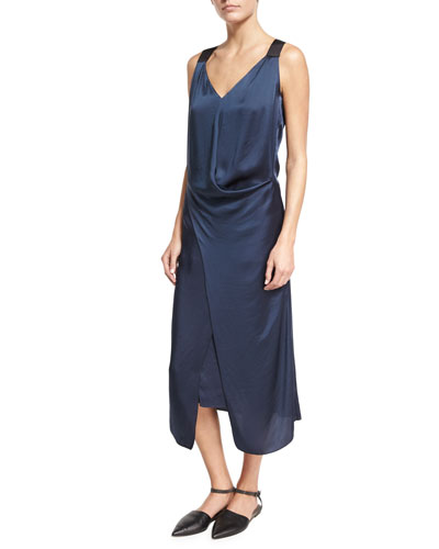 Liquid Satin Sleeveless Midi Dress, Dark Blue