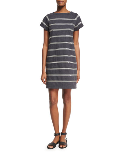 Felpa Crewneck Striped Dress, Gray