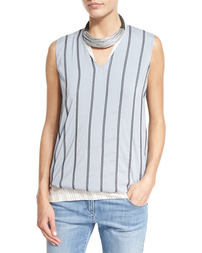 Monili-Striped Silk V-Neck Top, Light Blue