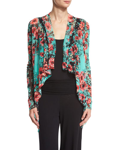 Floral-Print Cascading Open Cardigan, Multi