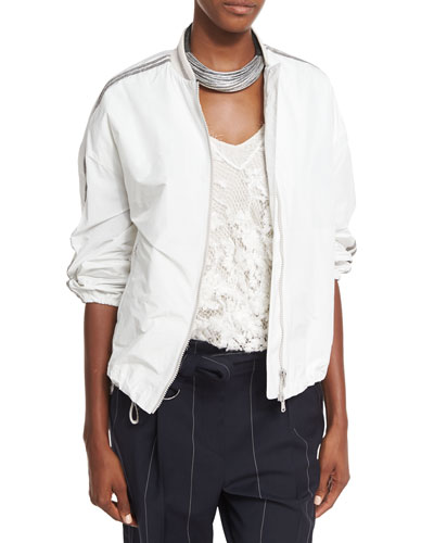 Monili-Stripe Taffeta Bomber Jacket, White