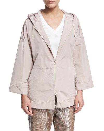 Hooded Taffeta Zip-Front Jacket, Light Pink