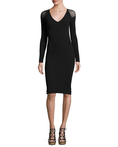 Illusion Long-Sleeve Tulle Sheath Dress, Black