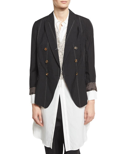 Striped Jewel-Pocket Two-Button Blazer, Black