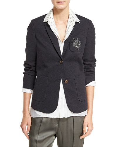 Crystal-Crest Felpa Jacket, Dark Gray