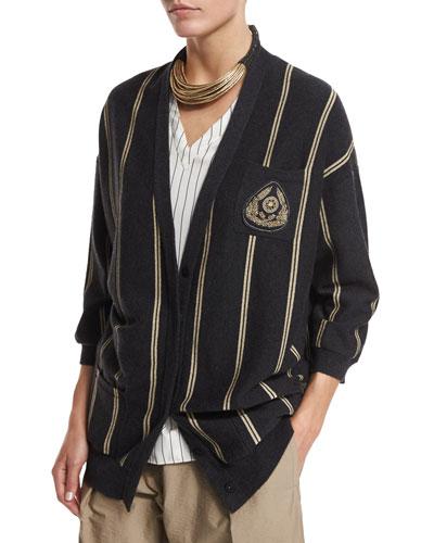 Striped Cashmere Boyfriend Cardigan, Multi