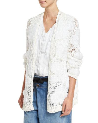Intarsia Oversized Cardigan, White