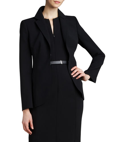 Double-Faced Hook-Front Jacket, Black