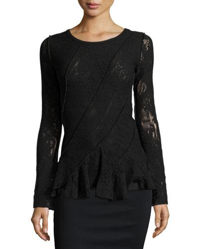 Long-Sleeve Lace Ruffled Peplum Top