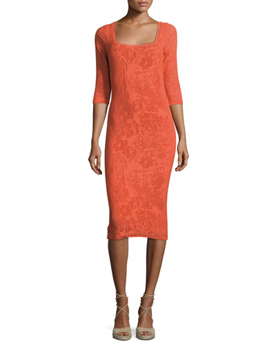 Square-Neck Stretch-Lace Sheath Dress, Tangerine