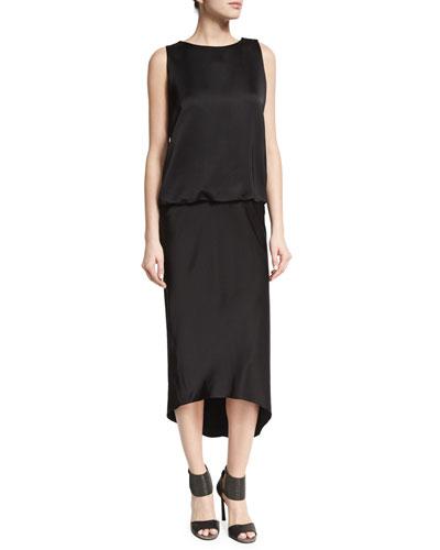 Monili-Back Blouson Midi Dress, Black