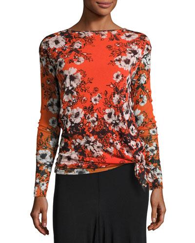 Long-Sleeve Floral-Print Tie-Hem Top, Fiamma Multi