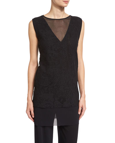 Sleeveless Layered Lace Tunic, Black