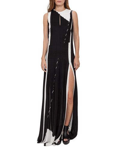 Equation-Print Pleated Keyhole Sleeveless Gown, Black/Blanco
