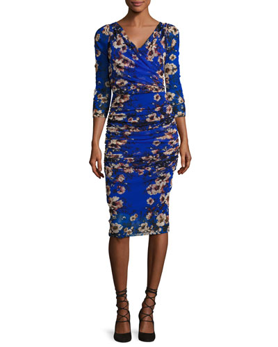 3/4-Sleeve Ruched Floral-Print Sheath Dress, Multi