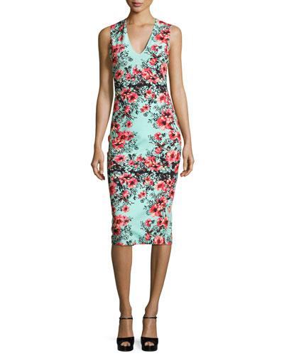 Sleeveless Floral-Print Sheath Dress, Multi