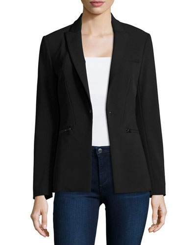 Scuba Jacket with Speckled Uptown Knit Dickey, Black