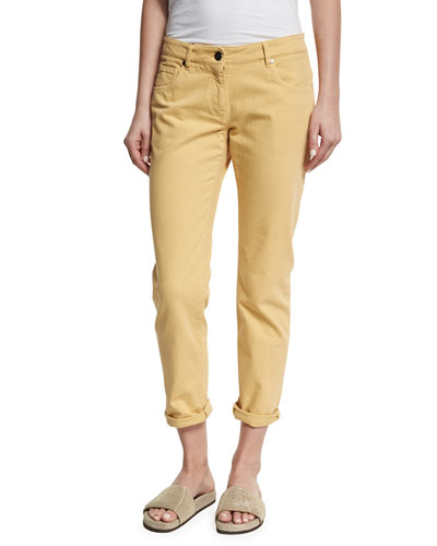Garment-Dyed Cropped Jeans, Yellow
