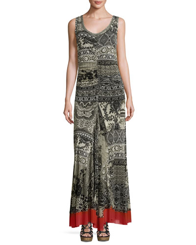 Sleeveless Lace-Print Maxi Dress, Black Pattern