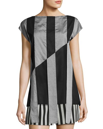 Striped Cap-Sleeve Tunic Blouse, Black/Gris