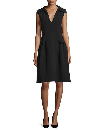 Sleeveless Oversized-Collar Dress, Black