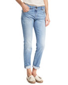 Light Denim Slim-Leg Jeans w/Rolled Hem, Blue