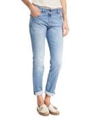 Light Denim Slim-Leg Jeans w/Rolled Hem, Blue