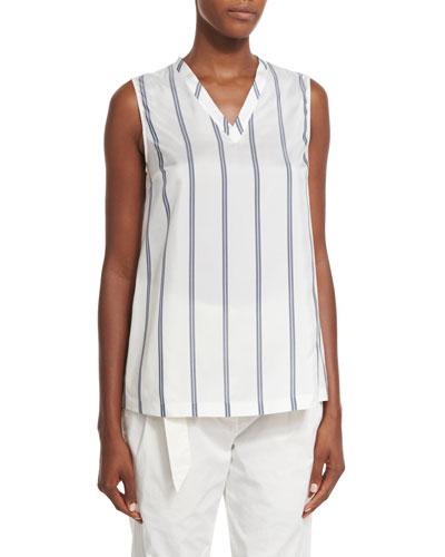 Regimental-Striped Silk V-Neck Top, White/Blue—