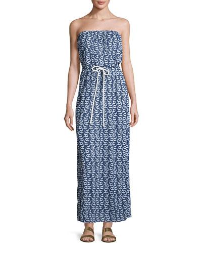 Pahala Sailboat-Print Strapless Maxi Coverup Dress