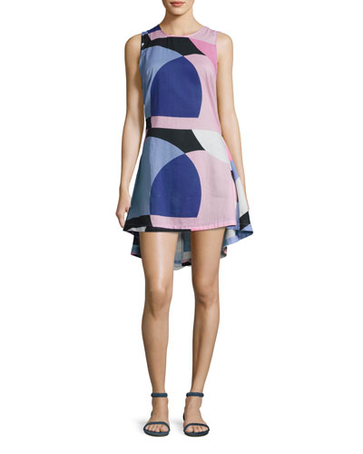 limelight mod-print high-low dress, multi
