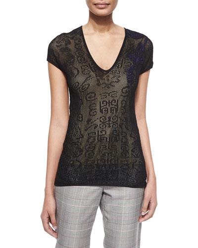 V-Neck Cap-Sleeve Lace Top, Black