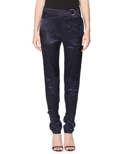 Single-Buckle Slim Velvet Trousers, Navy