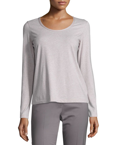Melange Scoop-Neck Long-Sleeve Tee, Light Purple