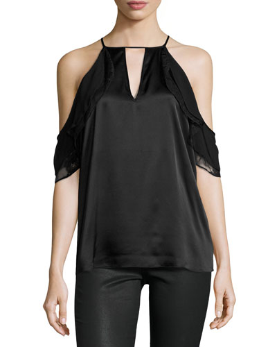 Chelo Cold-Shoulder Silk Combo Top