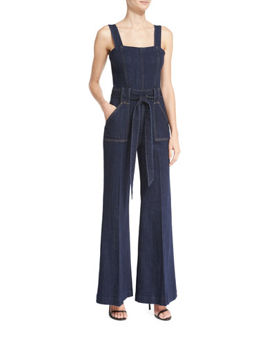 The Palazzo Denim Jumpsuit, Dark Sky Broken Twill