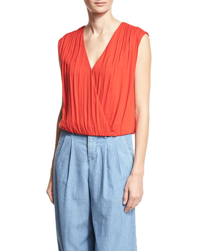 Dania Slouchy Crossover Top, Red