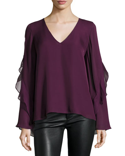 Makenna Lace-Combo Silk Top