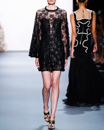 Beaded Lace Long-Sleeve Mini Dress, Black