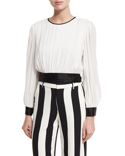 Dakota Pleated Tie-Waist Blouson Top