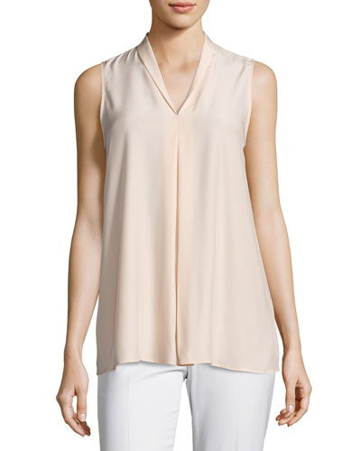 Nora Sleeveless Pleated Matte-Silk Blouse, Light Pink