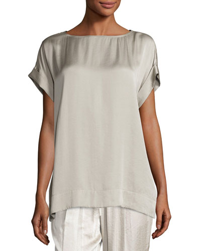 Lori Short-Sleeve Satin Blouse, Khaki
