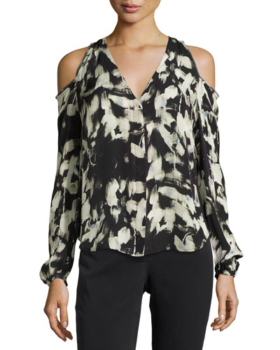 Painterly-Print Cold-Shoulder Blouse, Petite