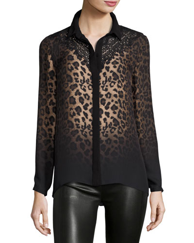 Mason Long-Sleeve Ombre Leopard-Print Blouse w/ Lace Yoke