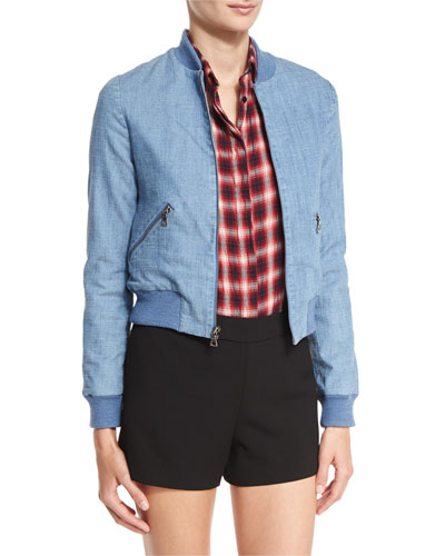 Lonnie Cropped Bomber Jacket, Blue