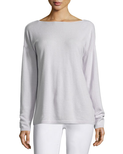 V-Back Cashmere Sweater, Light Purple