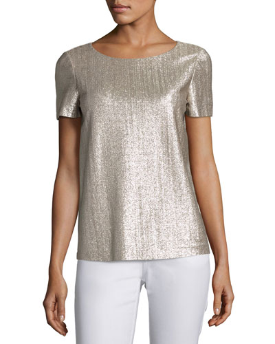 Short-Sleeve Shimmering Jersey Top, Iced Mocha