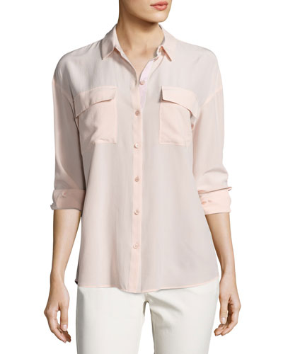Pasha Long-Sleeve Button-Front Silk Blouse, Light Pink