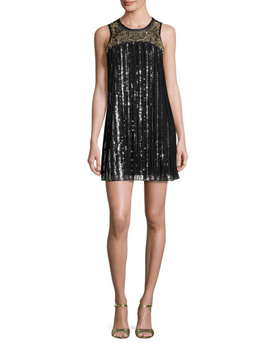 Gida Sequined Chiffon Shift Dress